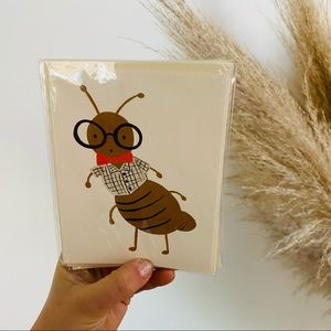 NEW ANTHROPOLOGIE Cricket Tan Greeting Card s/4